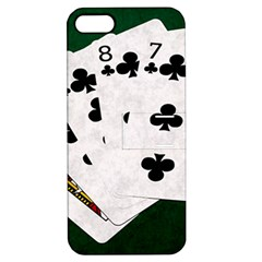 Poker Hands   Straight Flush Clubs Apple Iphone 5 Hardshell Case With Stand by FunnyCow