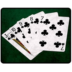 Poker Hands   Straight Flush Clubs Double Sided Fleece Blanket (medium)  by FunnyCow