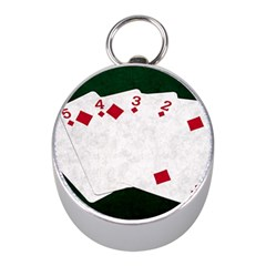 Poker Hands   Straight Flush Diamonds Mini Silver Compasses by FunnyCow