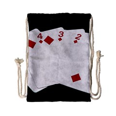 Poker Hands   Straight Flush Diamonds Drawstring Bag (small) by FunnyCow