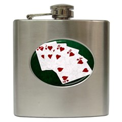 Poker Hands Straight Flush Hearts Hip Flask (6 Oz) by FunnyCow