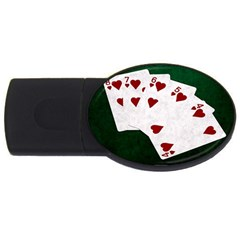 Poker Hands Straight Flush Hearts Usb Flash Drive Oval (4 Gb) by FunnyCow