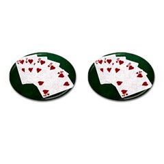 Poker Hands Straight Flush Hearts Cufflinks (oval) by FunnyCow