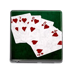 Poker Hands Straight Flush Hearts Memory Card Reader (square) by FunnyCow