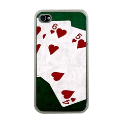 Poker Hands Straight Flush Hearts Apple Iphone 4 Case (clear) by FunnyCow