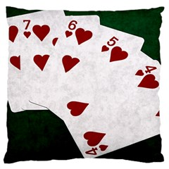 Poker Hands Straight Flush Hearts Large Cushion Case (two Sides) by FunnyCow