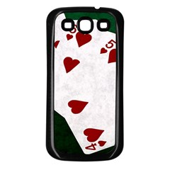 Poker Hands Straight Flush Hearts Samsung Galaxy S3 Back Case (black) by FunnyCow