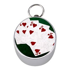 Poker Hands Straight Flush Hearts Mini Silver Compasses by FunnyCow