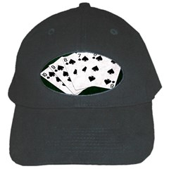 Poker Hands Straight Flush Spades Black Cap by FunnyCow
