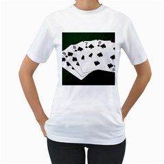 Poker Hands Straight Flush Spades Women s T Shirt (white) (two Sided) by FunnyCow