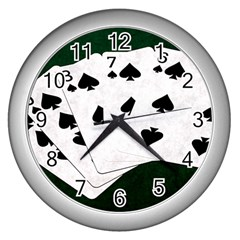 Poker Hands Straight Flush Spades Wall Clocks (silver)  by FunnyCow