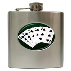 Poker Hands Straight Flush Spades Hip Flask (6 Oz) by FunnyCow