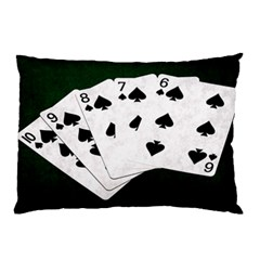 Poker Hands Straight Flush Spades Pillow Case by FunnyCow