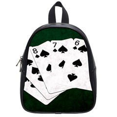 Poker Hands Straight Flush Spades School Bag (small) by FunnyCow