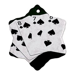 Poker Hands Straight Flush Spades Snowflake Ornament (two Sides) by FunnyCow