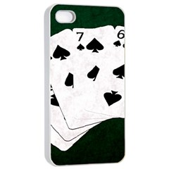Poker Hands Straight Flush Spades Apple Iphone 4/4s Seamless Case (white) by FunnyCow