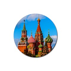 Moscow Kremlin And St  Basil Cathedral Rubber Round Coaster (4 Pack)