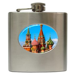Moscow Kremlin And St  Basil Cathedral Hip Flask (6 Oz) by FunnyCow