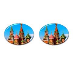Moscow Kremlin And St  Basil Cathedral Cufflinks (oval) by FunnyCow