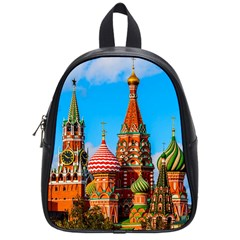 Moscow Kremlin And St  Basil Cathedral School Bag (small) by FunnyCow