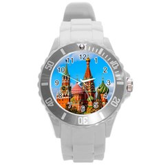 Moscow Kremlin And St  Basil Cathedral Round Plastic Sport Watch (l) by FunnyCow
