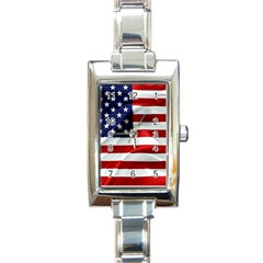 American Usa Flag Rectangle Italian Charm Watch by FunnyCow