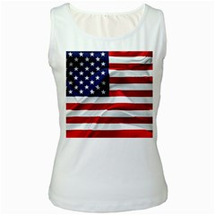 American Usa Flag Women s White Tank Top by FunnyCow