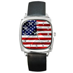 American Usa Flag Square Metal Watch