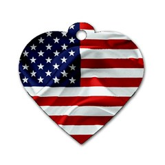 American Usa Flag Dog Tag Heart (two Sides) by FunnyCow