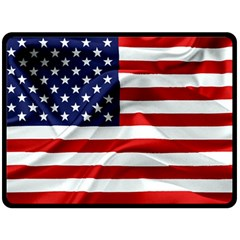 American Usa Flag Fleece Blanket (large)  by FunnyCow