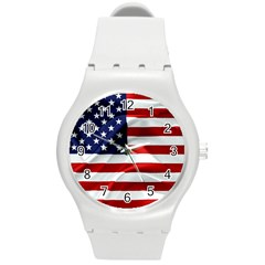 American Usa Flag Round Plastic Sport Watch (m) by FunnyCow