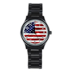 American Usa Flag Stainless Steel Round Watch by FunnyCow