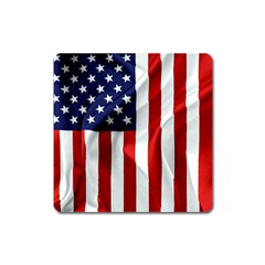American Usa Flag Vertical Square Magnet by FunnyCow