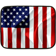 American Usa Flag Vertical Double Sided Fleece Blanket (mini)  by FunnyCow