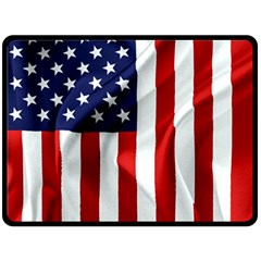 American Usa Flag Vertical Double Sided Fleece Blanket (large)  by FunnyCow
