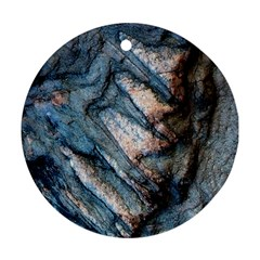 Earth Art Natural Rock Grey Stone Texture Ornament (round) by CrypticFragmentsDesign