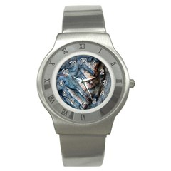 Earth Art Natural Rock Grey Stone Texture Stainless Steel Watch by CrypticFragmentsDesign