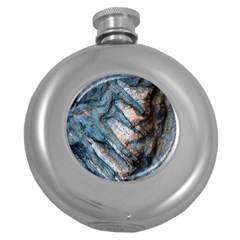 Earth Art Natural Rock Grey Stone Texture Round Hip Flask (5 Oz) by CrypticFragmentsDesign