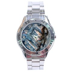 Earth Art Natural Rock Grey Stone Texture Stainless Steel Analogue Watch by CrypticFragmentsDesign