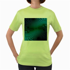Blue Background Brush Particles Wave Women s Green T Shirt