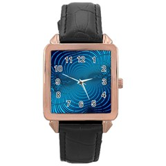 Blue Background Brush Particles Wave Rose Gold Leather Watch  by Nexatart