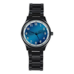 Blue Background Brush Particles Wave Stainless Steel Round Watch