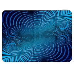 Blue Background Brush Particles Wave Samsung Galaxy Tab 7  P1000 Flip Case by Nexatart