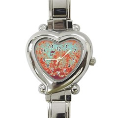 Orange Blue Rust Colorful Texture Heart Italian Charm Watch by Nexatart