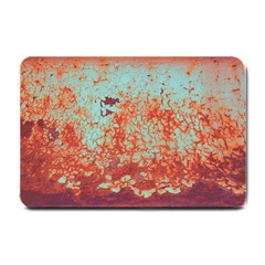 Orange Blue Rust Colorful Texture Small Doormat  by Nexatart