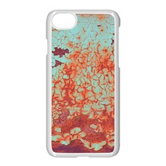 Orange Blue Rust Colorful Texture Apple Iphone 7 Seamless Case (white)