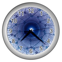 Network Social Abstract Wall Clocks (silver)  by Nexatart