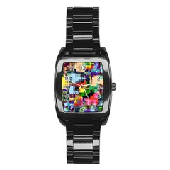 Color Abstract Background Textures Stainless Steel Barrel Watch