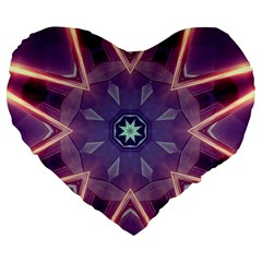 Abstract Glow Kaleidoscopic Light Large 19  Premium Flano Heart Shape Cushions
