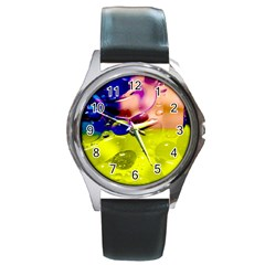 Abstract Bubbles Oil Round Metal Watch by Nexatart